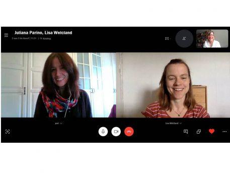 Screenshot mit drei Frauen in einer Videokonferenz.